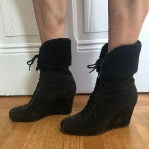 Prada Shearling Lace-Up Wedge Boot
